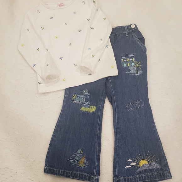 NWT Girls 2pc Gymboree Girl /& Dog Top /& Striped Shorts Outfit sz 5//6 6